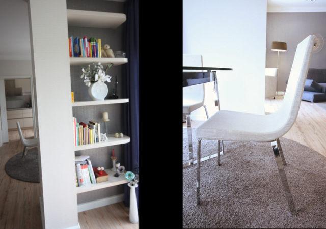 Das von uns entworfene Regal des Minibüros im Erker. Die Polstermöbel im schlichten Design passen gut zum Glastisch.