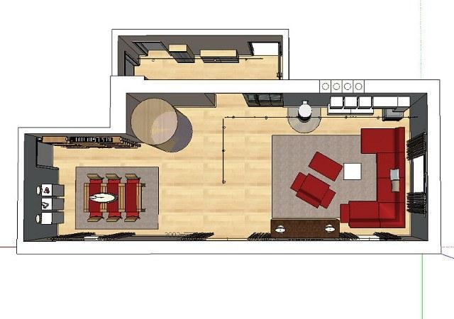 In der Draufsicht der Wohnzimmerplanung ist gut zu erkennen, dass wir den Raum in 2 Bereiche teilten