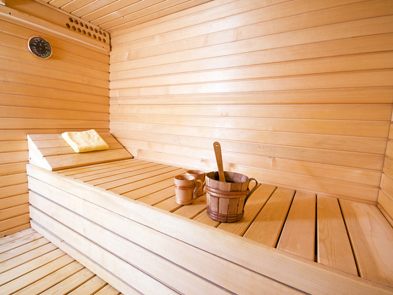 Eine Saunakabine, wie wir sie für einen Dachgeschossumbau nutzen können