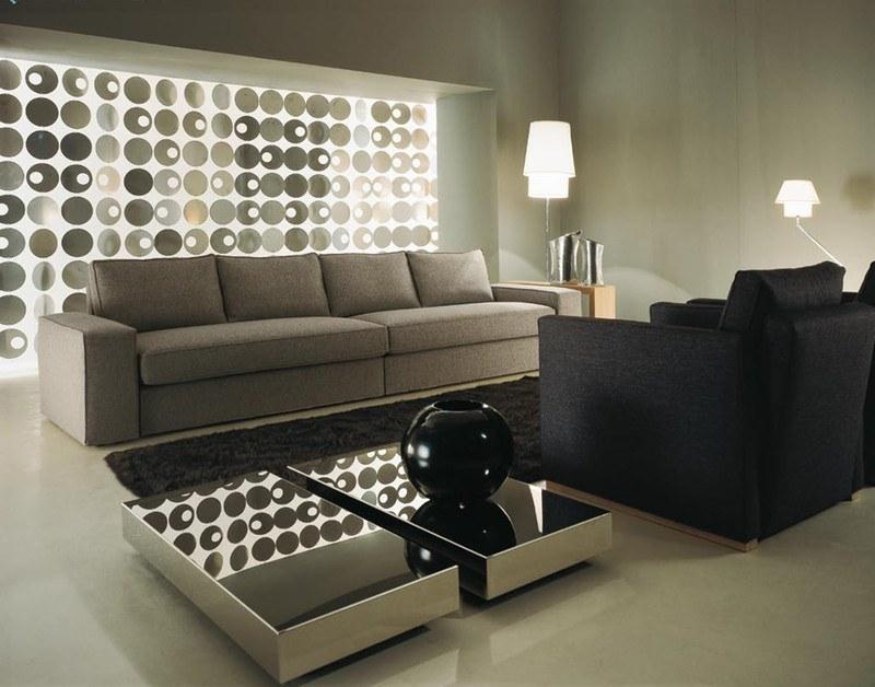 Moderne Wohnzimmergestaltung in den Farbtönen Creme / Mocca
