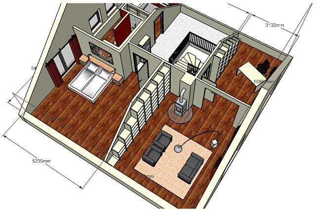 3D Wohnraumplanung eines kompletten Dachgeschosses