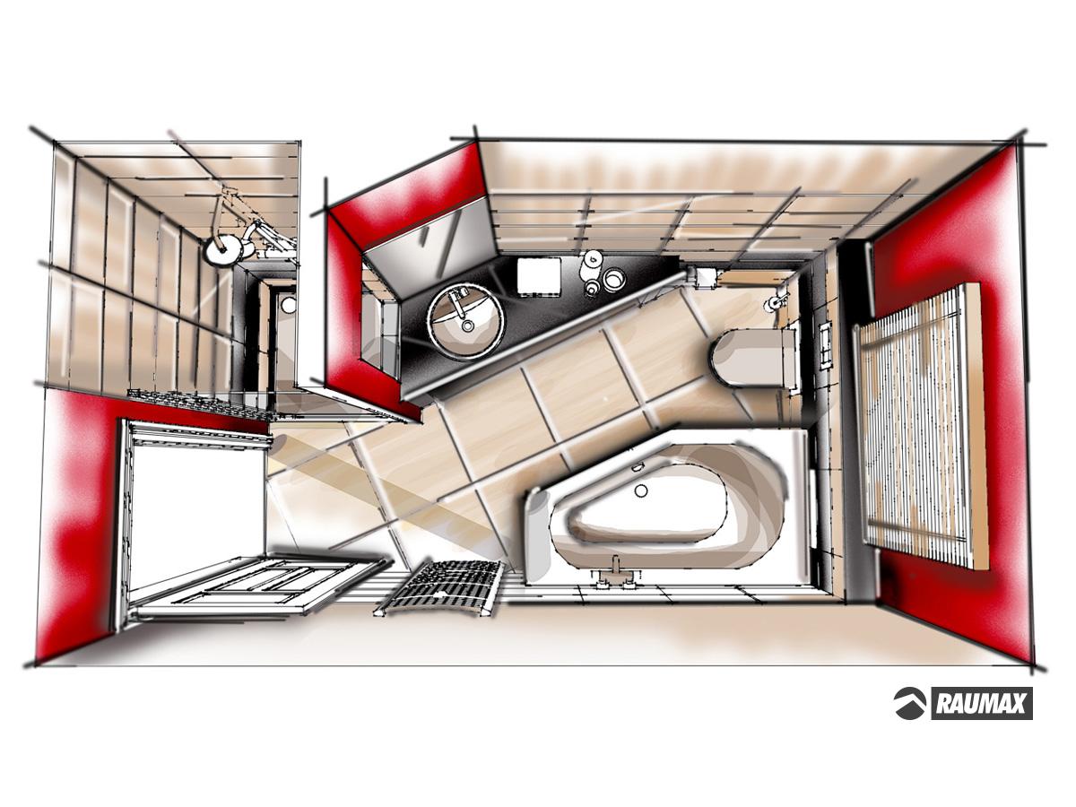 Badezimmerplanung für ein Einfamilienhaus im Erdgeschoss in Draufsicht. Verplante Objekte Duschtasse mit Ganzglaspendeltür, Showerpipe, Spiegel, rundes Waschbecken mit Armatur auf Trockenbaupodest, WC, Raumsparbadewanne, Wandarmatur, Radiator, Badzubehör und Jalousie.
