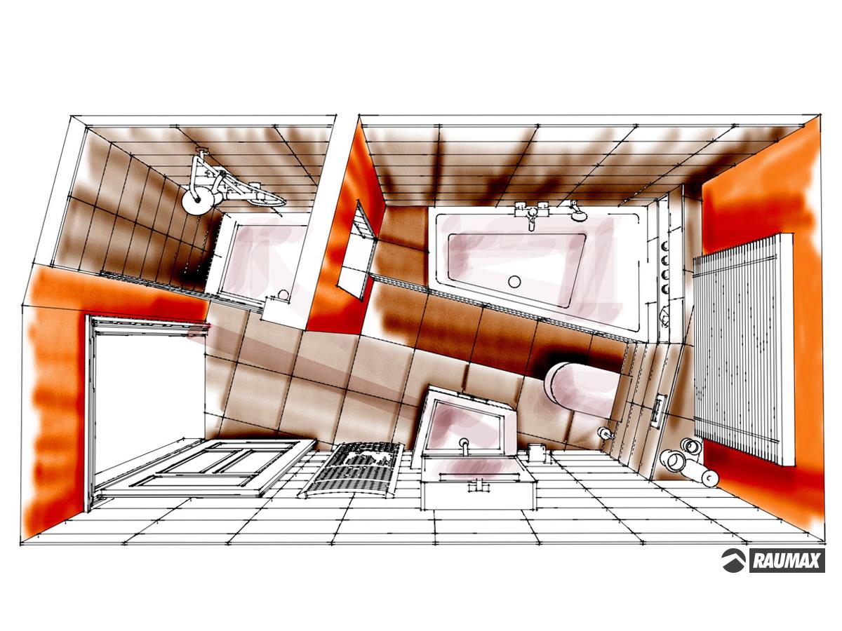 Showerpipe Badezimmergestaltung Fur Ein Zweifamilienhaus Im Obergeschoss In Draufsicht Verplante Objekte Duschtasse Mit Ganzglaspendeltur