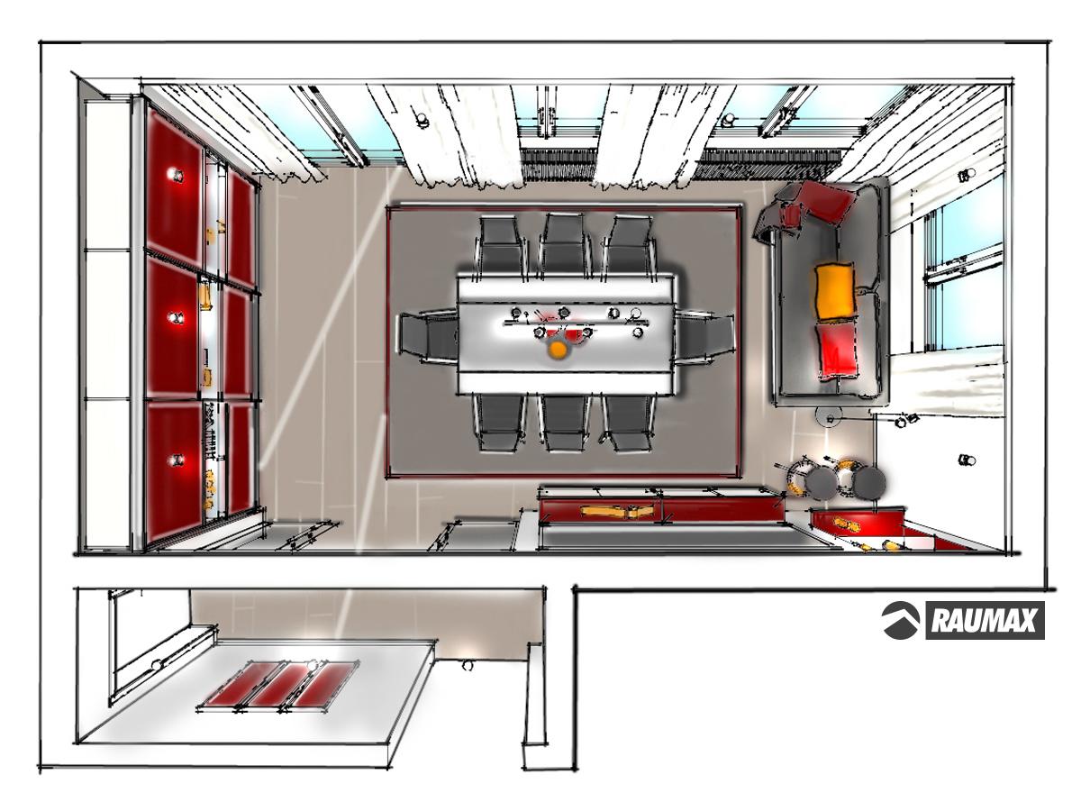 Showerpipe Esszimmerentwurf Fur Eine Eigentumswohnung In Draufsicht Verplante Objekte Ganzglasschiebeturanlage Als Raumtrennung Hangesideboard