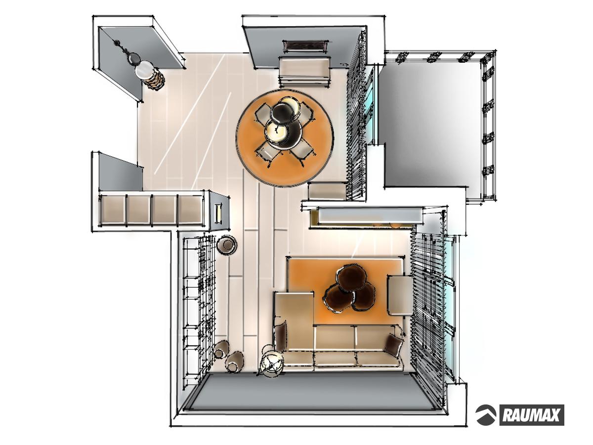 Wohnzimmerdarstellung mit Essbereich für ein Reihenhaus im Obergeschoss in Draufsicht. Verplante Objekte Pendelleuchten, Rundkommode, Einbauschrank mit Schiebetüranlage, runden Esstisch mit 4 Lederstühlen, Sideboard, TV-Wand, Couchkombination mit Hocker, drei aus Nussbaumschnitt Beistelltische, Stehleuchte, Wandleuchte und ein offenes Bücherregal.