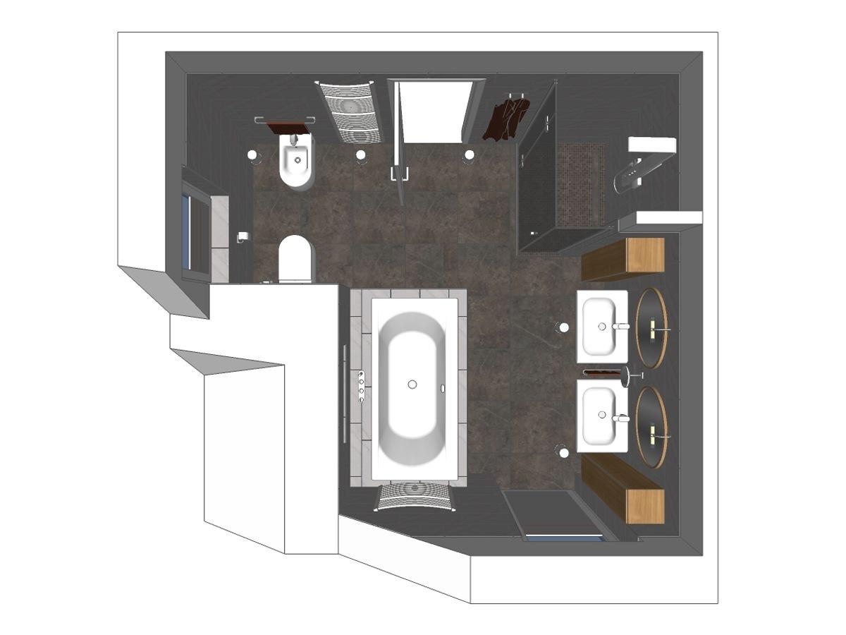Badplanung für ein Badezimmer im Dachgeschoss in Draufsicht. Verplante Objekte Badewanne, zwei Waschtische incl. Bad-Wandschrank, WC, Bidet und Ganzglasdusche.