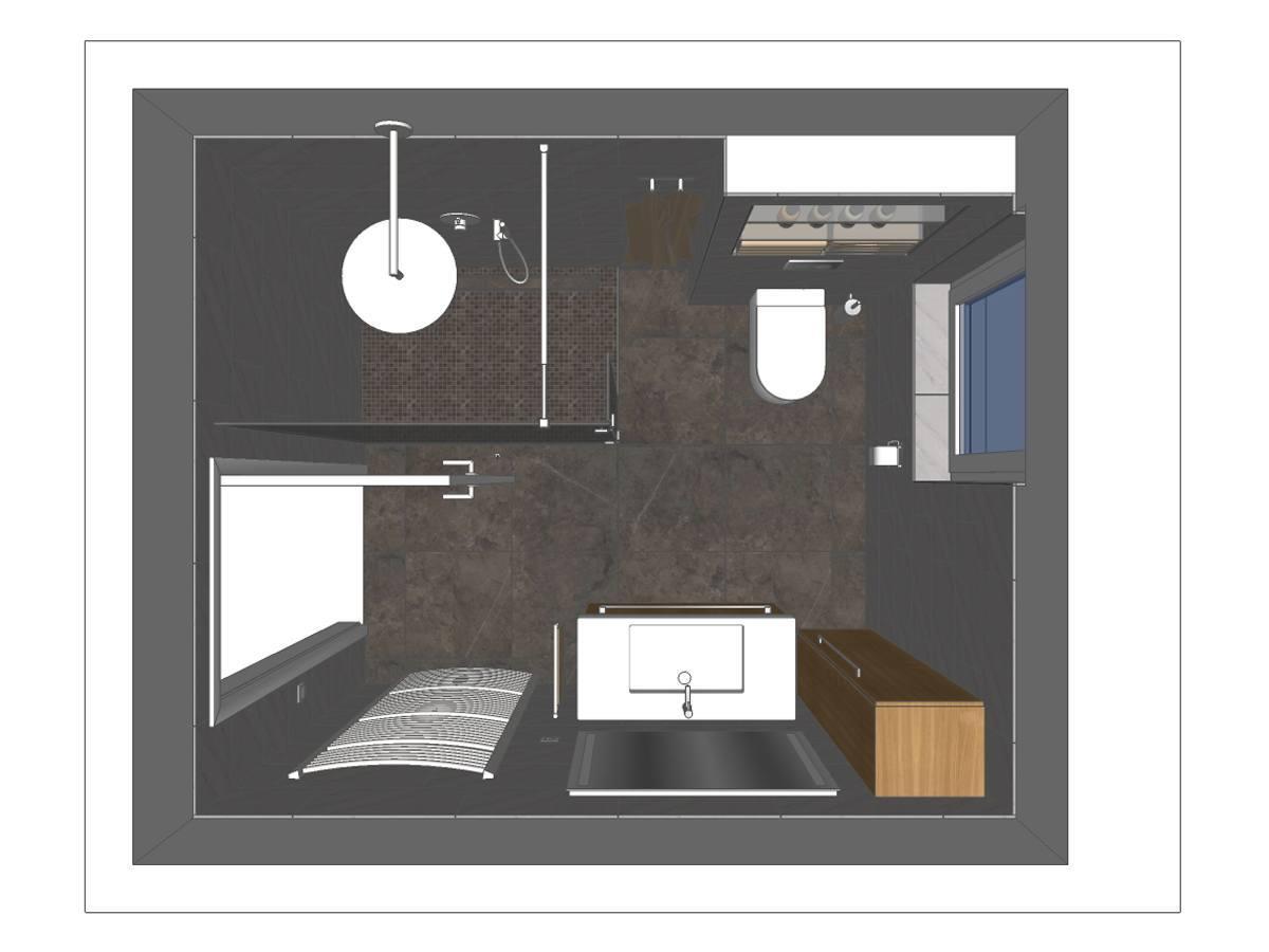 Badezimmer-Planung in Draufsicht mit großzügiger Walk-In Dusche, Waschtisch, wandhängendem WC, Hängeschrank und Handtuch-Heizkörper