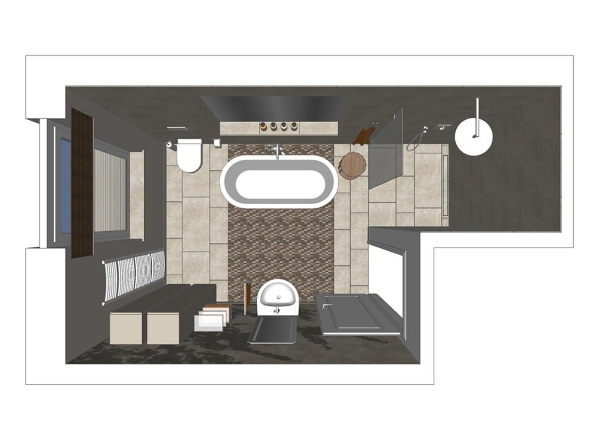 Badezimmerplanung mit Walk-In Dusche, freistehender Badewanne sowie Armatur