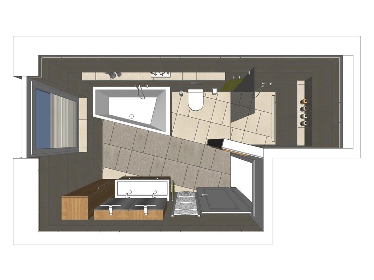 Badplanung für ein Badezimmer einer Eigentumswohnung in Draufsicht mit Doppel-Waschtisch, Unterschrank, Spiegelschrank, schräg geschnittener Badewanne und Walk-In Dusche
