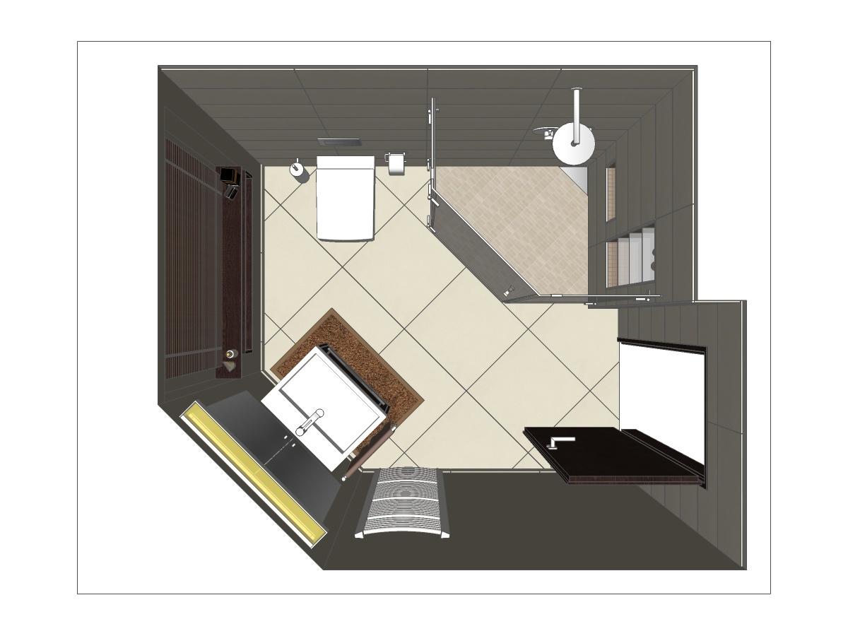 Gästebad Badplanung mit Fünfeckdusche und Waschtisch mit Unterschrank, Handtuchheizkörper, großformatigen Fliesen in Kombination mit Mosaik am Boden