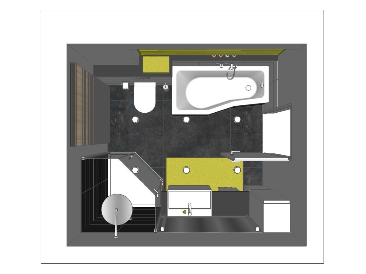 Badplanung für ein Badezimmer im Obergeschoß in Draufsicht. Verplante Objekte Raumsparbadewanne mit Wandarmatur, wandhängendes WC, Ganzglasdusche mit Duschtasse und Kopfbrause, großes Aufsatzwaschbecken mit Waschtischunterschrank, Spiegel mit Wandleuchten, wandhängender Schrank, Einbauspots, Holzjalousie, Badzubehör und farbig lackiertem Handtuchheizkörper.