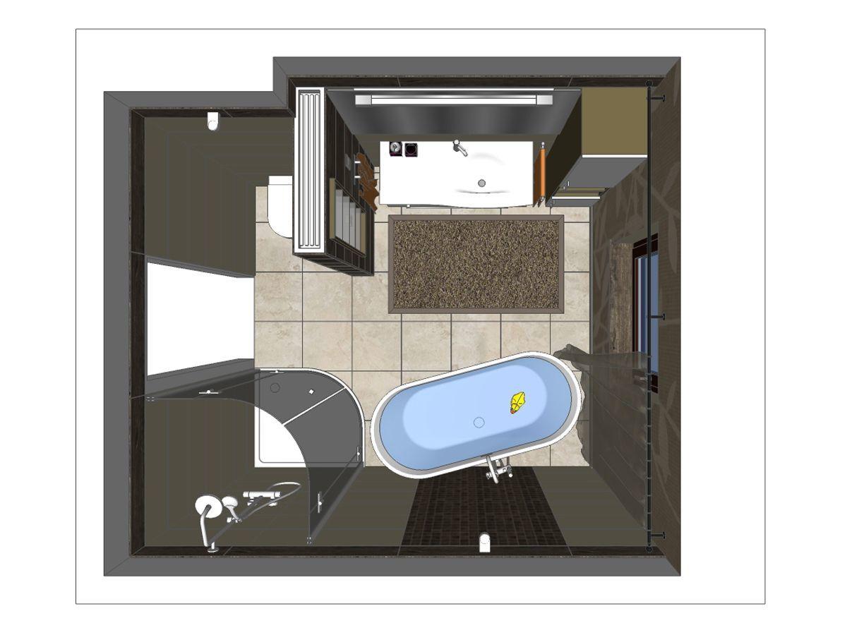 3D Draufsicht für eine Badplanung im Erdgeschoss eines Einfamilienhauses. Verplante Komponenten: freistehende Badewanne, freistehende Badewannenarmatur, Ganzglasdusche, runde Duschtasse, großer Waschtisch, Waschtischunterschrank, Hängeschrank und Spiegel.