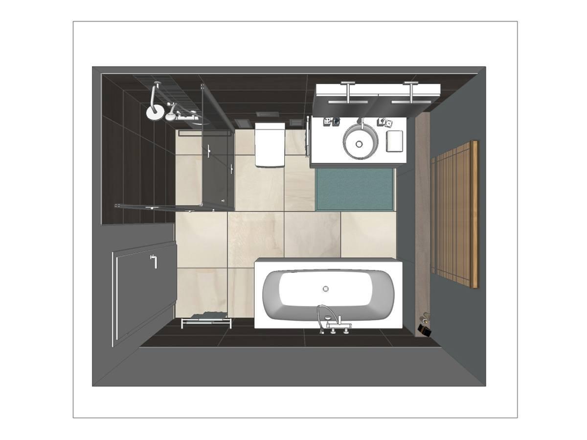 Badplanung in Draufsicht mit Badewanne und Dusche. Weitere verplante Objekte WC, Rainshowerarmatur mit Ganzglasduschwand, Spiegelschrank mit Beleuchtung, Jalousie, Teppich, großformatigen Fliesen und Badzubehör.