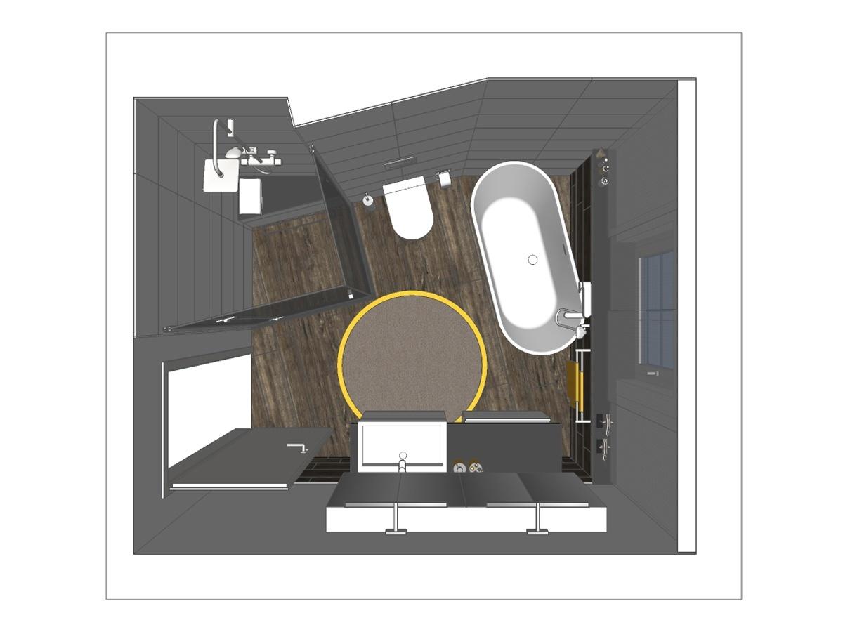 Badplanung im Einfamilienhaus mit freistehender Badewanne. Verplante Objekte WC, Walk-In-Dusche aus Glas, Rainshowerarmatur, Waschtisch mit Waschtischboard und -unterschrank, Spiegelschrank mit Beleuchtung und Badzubehör.