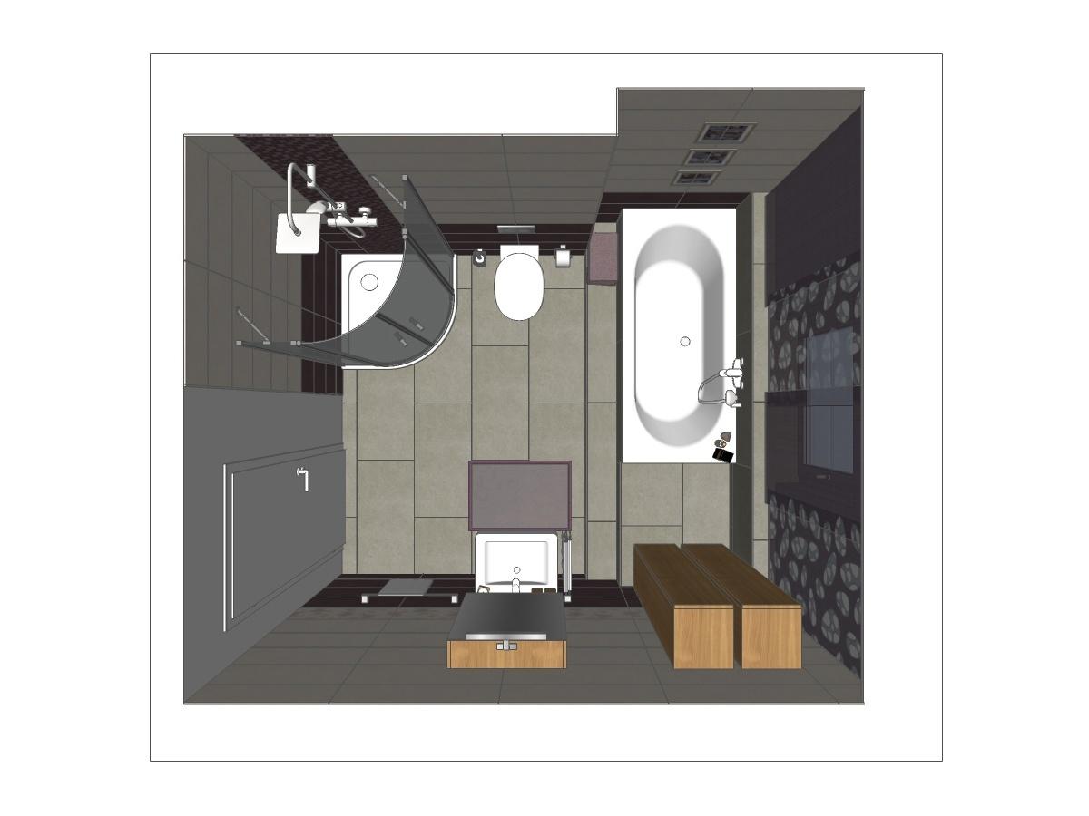 Badplanung in Draufsicht mit einer runden Duschtasse und Ganzglasabtrennung, WC, eingelassener Badewanne mit Wandarmatur, zwei Hängeschränke, Waschtisch mit Waschtischunterschrank und Spiegelschrank.