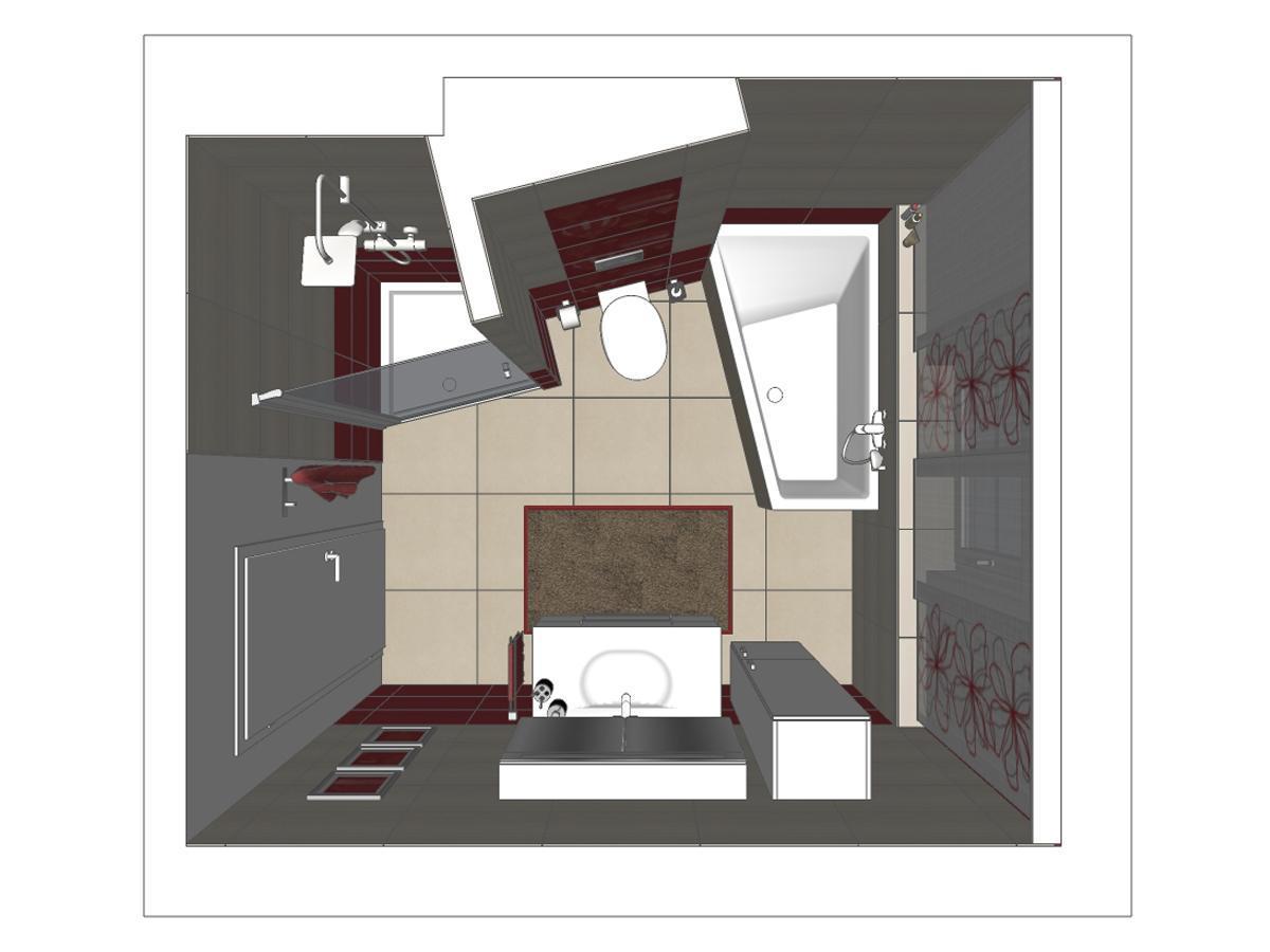 Badplanung für ein Badezimmer in Draufsicht mit lila farbigen Wandfliesen und passenden Schiebevorhängen. Verplante Objekte Duschtasse mit Ganzglastür, Duscharmatur, WC, Raumsparbadewanne, Teppich, Badschrank, Waschtisch mit Unterschrank und Spiegel inkl. Beleuchtung.