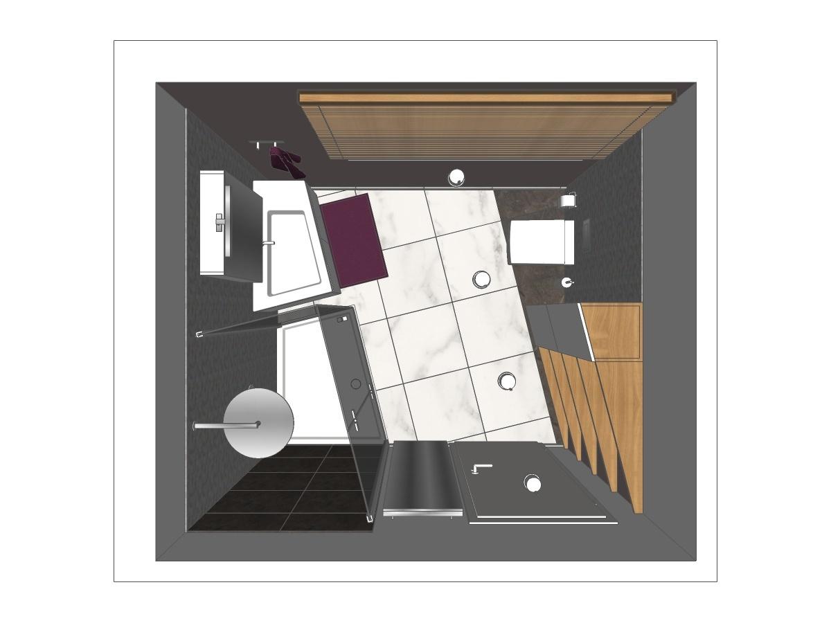 Badplanung für ein Badezimmer im Erdgeschoss in Draufsicht. Verplante Objekte Dusche mit Duschtasse und Ganzglastrennung, Waschtisch mit Unterschrank und Spiegelschrank inkl. Beleuchtung, Jalousie, WC, Badschrank und Holzablagen.