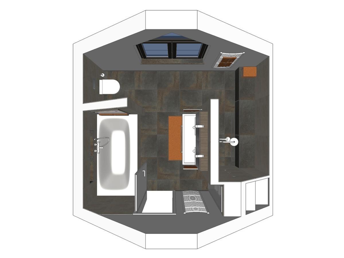 Badplanung für ein Badezimmer im Dachgeschoss in Draufsicht. Verplante Objekte Badewanne mit Wandarmatur, Waschtisch mit zwei Armaturen, Waschtischunterschrank und Spiegelschrank mit Beleuchtung, WC, Badheizkörper und Duscharmatur.