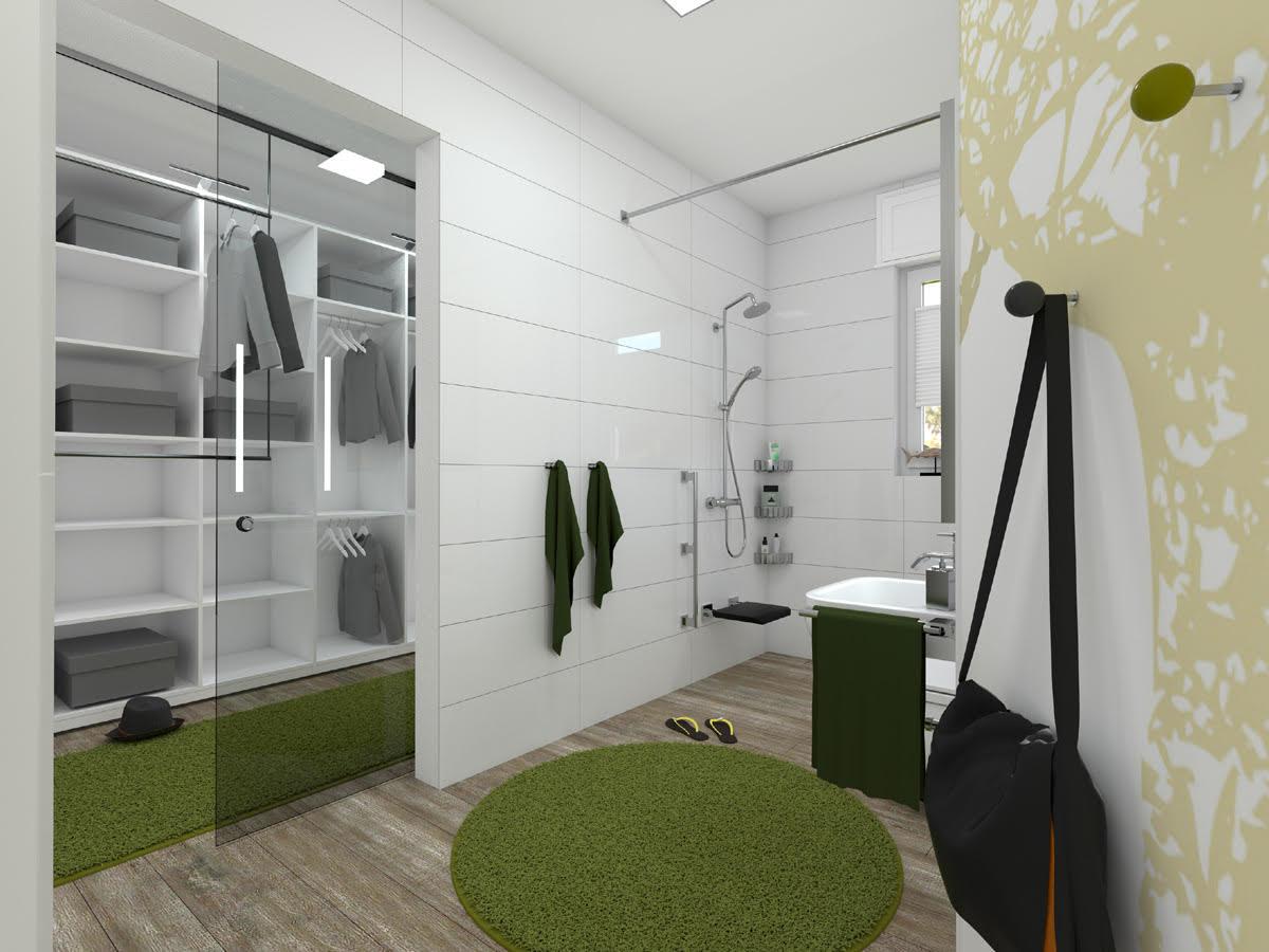 Schwellenloses Bad mit begehbarer Dusche und viel Bewegungsfreiheit