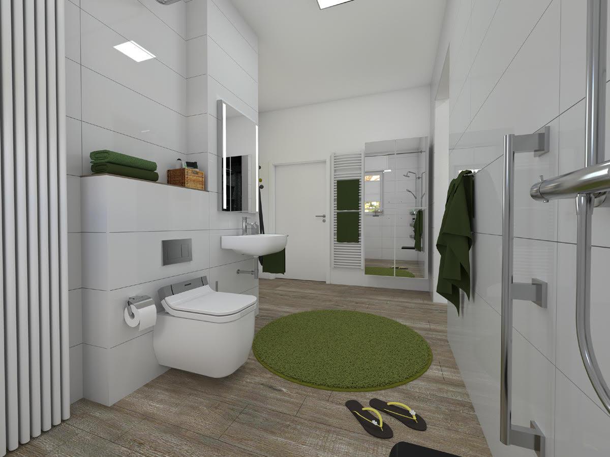 Badsanierung - Vor dem Dusch-WC gibt es jetzt viel Platz für ein bequemes Bewegen und grüne Farbtupfer machen das neue Bad wohnlich.